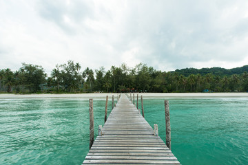 Wall Mural - Wooden bridge  for entry  the beautiful island
