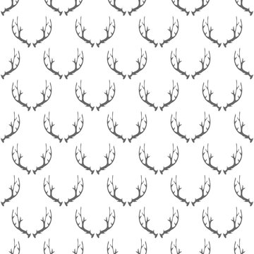 Animal Horns Seamless Pattern on White Background