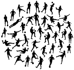 Soccer football player silhouettes, art vector design