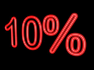 Neon 10 percent isolated on black, 3d illustration