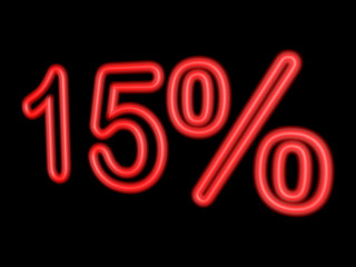 Neon 15 percent isolated on black, 3d illustration