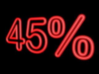 Neon 45 percent isolated on black, 3d illustration