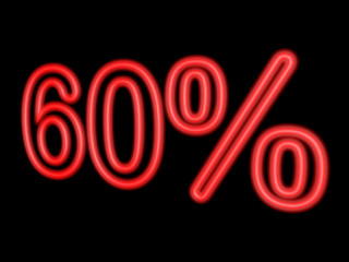 Neon 60 percent isolated on black, 3d illustration