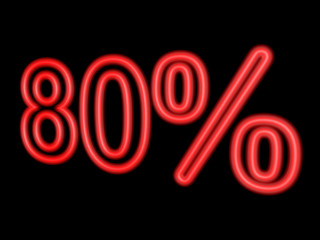 Neon 80 percent isolated on black, 3d illustration