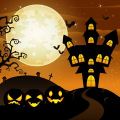 Halloween background with cartoon black pumpkins character