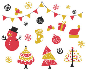 Set of Christmas related object doodle isolated on white background