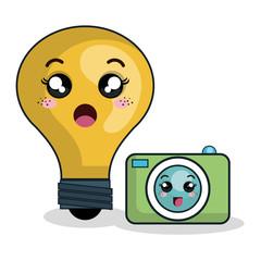 cartoon bulb camera technology digital design vector illustration eps 10
