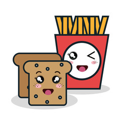 cartoon fries bread with facial expression isolated design, vector illustration  graphic