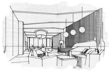 sketch stripes lobby, black and white interior design.