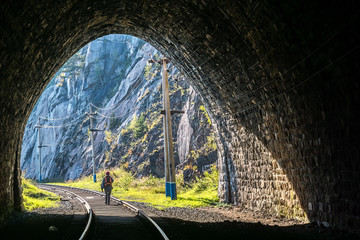 View from the tunnel on Circum-Baikal Railway