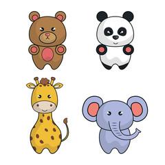 set animals cartoon cute design vector illustration eps 10