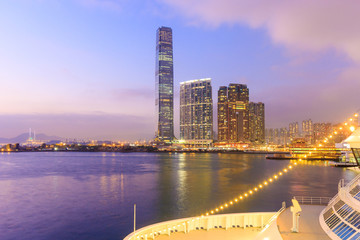 The International Commerce Centre on Nov 09, 2015 in Hong Kong. ICC Tower is a 118-storey, 484 m commercial skyscraper completed in 2010 in West Kowloon, Hong Kong.