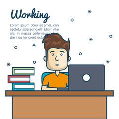 cartoon man working desk laptop vector illustration eps 10