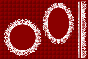 Lace Doily Picture Frames, vintage lace ribbon trim, red satin quilt background, copy space for Christmas, Valentine's Day. EPS8 includes quilt pattern swatch that will seamlessly fill any shape.