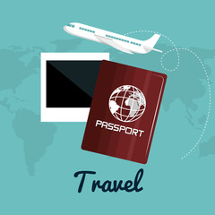 travel passport airplane vacation design vector illustration eps 10