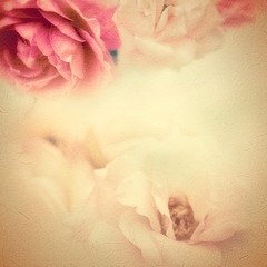sweet roses in vintage color style on mulberry paper texture