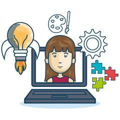 laptop woman education online concept design vector illustration eps 10