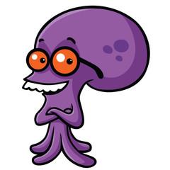 Smiling Nerd Smart Octopus Cartoon Vector