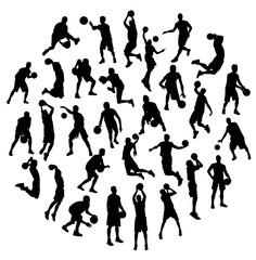 Silhouette Sport Activities Basketball, art vector design