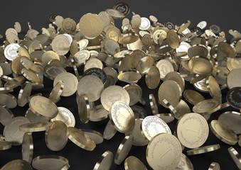 Falling golden coins. black background.