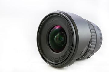 Black camera lens isolated on white background