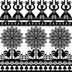 Seamless Polish folk art black pattern Wycinanki Kurpiowskie - Kurpie Papercuts