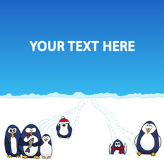 Cartoon penguins in snow polar landscape - vector background