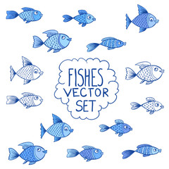 Blue fishes vector set or collection