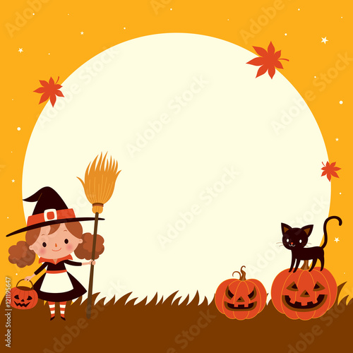 Halloween cute little witch with cat. Halloween background.