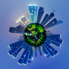 cityscape with little planet effect,night view.