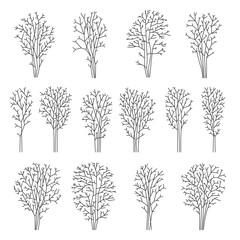Set of line trees, vector illustration EPS 10. Line design.