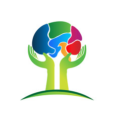 Hands care a brain logo concept of mental health
