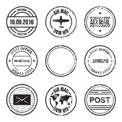 Set of post mark, stamps. Vector illustration EPS 10 isolated on white background
