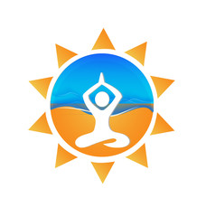 Yoga waves and sun symbol icon identity card logo vector