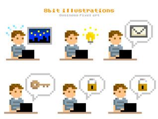 ピクセルイラスト:パソコンを使う男性