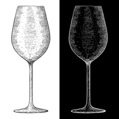 Wine glass. Hand drawn sketch
