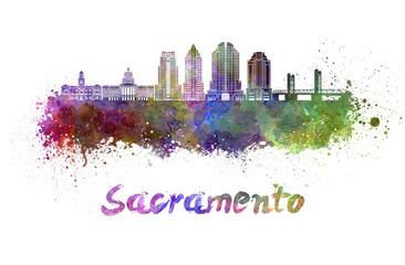 Fototapete - Sacramento V2 skyline in watercolor