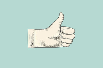 Vintage drawing of hand sign giving ok or thumbs up in engraving retro style, isolated on mint color background. Old drawn thumbs up for sign, information sign and navigation. Illustration