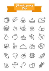Thanksgiving Day outline icons set. Harvest