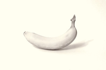 Sketch painting drawn painting on white background. Illustration of fruit banana Black and white