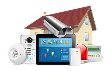 Home security system concept - motion detector, gas sensor, cctv camera, alarm siren