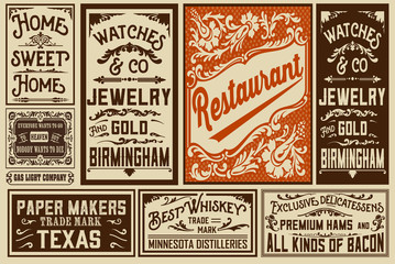 Pack old advertisement designs and labels - Vector illustration