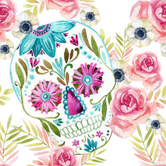 Watercolor mexican sugar skull among the flowers seamless pattern.