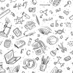 back to school doodles seamless vector pattern