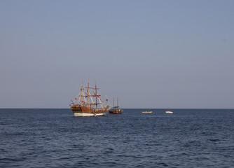 Pleasure yacht sailing on the Black Sea