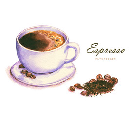 Hand-drawn watercolor illustration of the coffee. Cup of the espresso and coffee beans isolated on the white background.