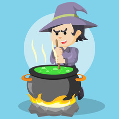 witch cooking potion colorful