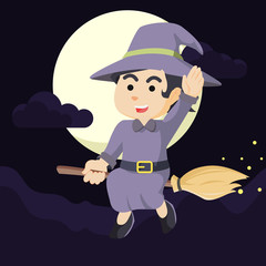 witch cheerful flying with her broom
