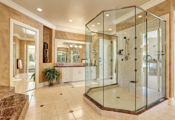 Beautiful luxury marble bathroom interior in beige color