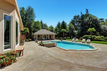 Large swimming pool of American Suburban luxury house